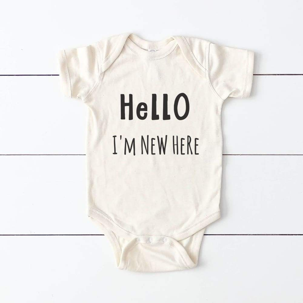 """Hello I'm New Here"" Baby Bodysuit"