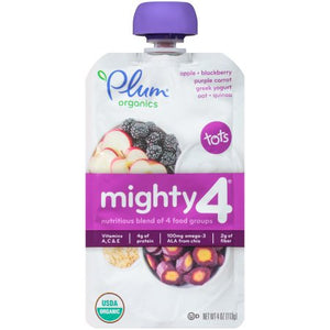Plum Organics Mighty 4 Blends Toddler Food, Apple, Blackberry, Purple Carrot, Greek Yogurt & Oat