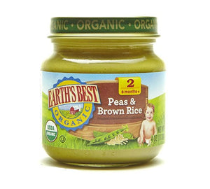 Earth's best Organic Baby Food Stage 2 Peas & Brown Rice