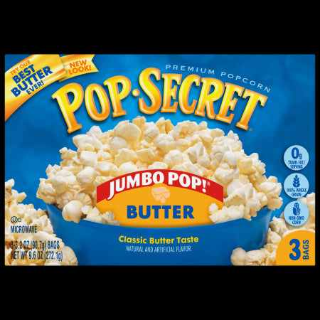 POP SECRET MICROWAVE POPCORN JUMBO POP BUTTER