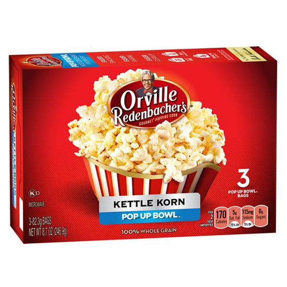 ORVILLE MICROWAVE POPCORN KETTLE KORN POP UP BOWL