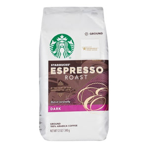 Starbucks Dark Roast Ground Coffee — Espresso Roast — 100% Arabica — 1 Bag (12 Oz.)