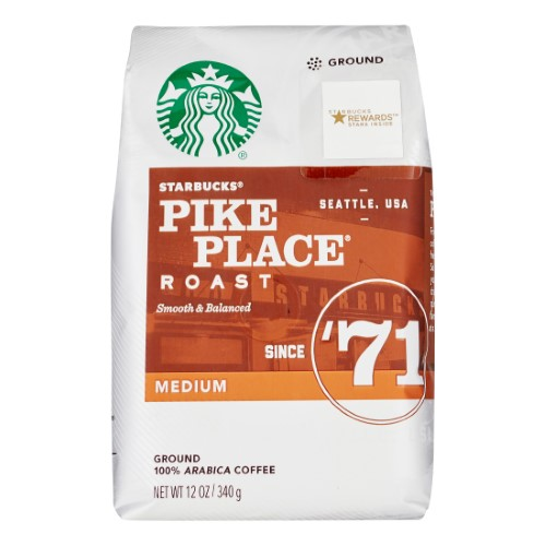 Starbucks Medium Roast Ground Coffee — Pike Place Roast — 100% Arabica — 1 Bag (12 Oz.)