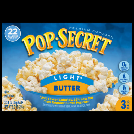 POP SECRET MICROWAVE POPCORN LIGHT BUTTER
