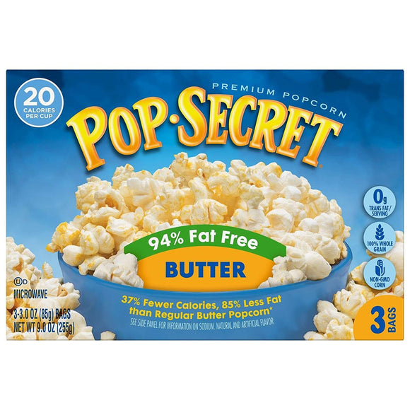 POP SECRET MICROWAVE POPCORN 94% FAT FREE BUTTER