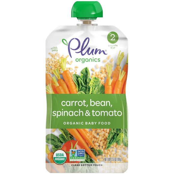 Plum Organics Stage 2 Organic Baby Food, Carrots, Beans, Spinach & Tomato