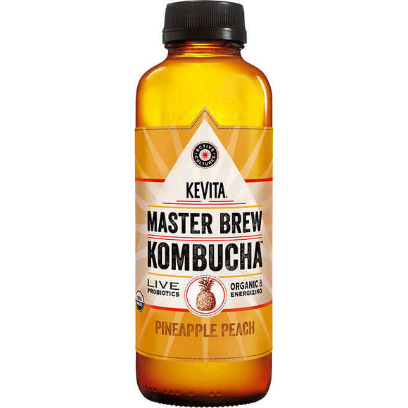 KEVITA MASTER BREW KOMBUCHA, PINEAPPLE PEACH, 15.2 OZ BOTTLE