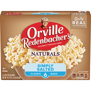ORVILLE MICROWAVE POPCORN NATURALS SIMPLY SALTED