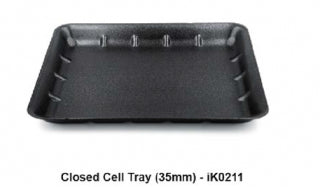 "Foam Tray (14x11"" x 35mm) Black Deep ""Ikon"" (Carton 180)"