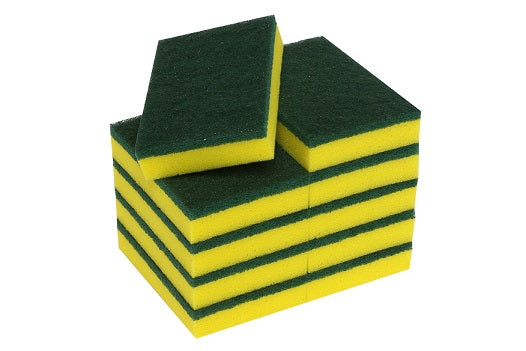 Scourer Green & Yellow Large (15x10x3cm) 10 Pack