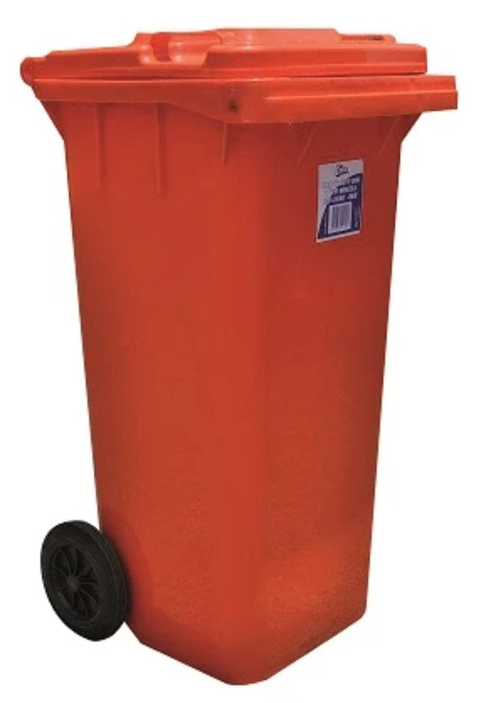 120 Litre Plastic Bin Special Order Heavy Duty Wheels-Red