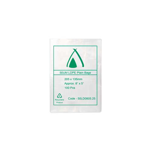 "50um Clear Bag 08"" x 5.25"" (205mm x 140mm) (Carton 1000)"