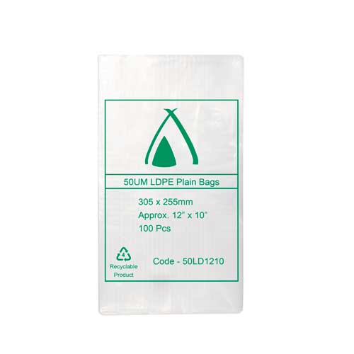 "50um Clear Bag 12"" x 10"" (305mm x 255mm) (Carton 1000)"