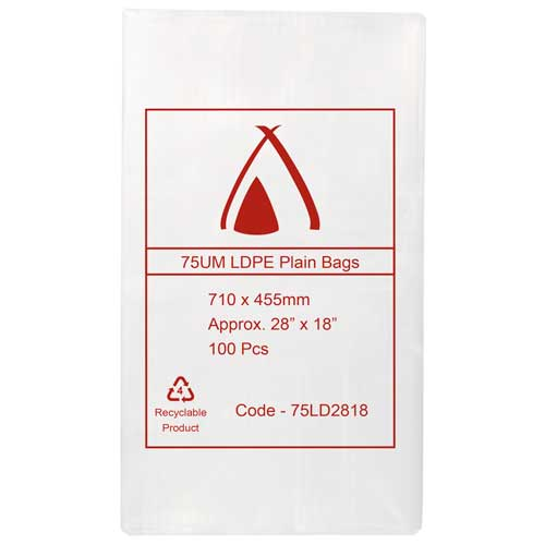 "75um Clear Bag 28"" x 18"" (710mm x 455mm) (Carton 300)"