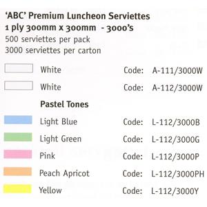 1 Ply Lunch AAA Napkin White (Carton 3000) (Pack 500)