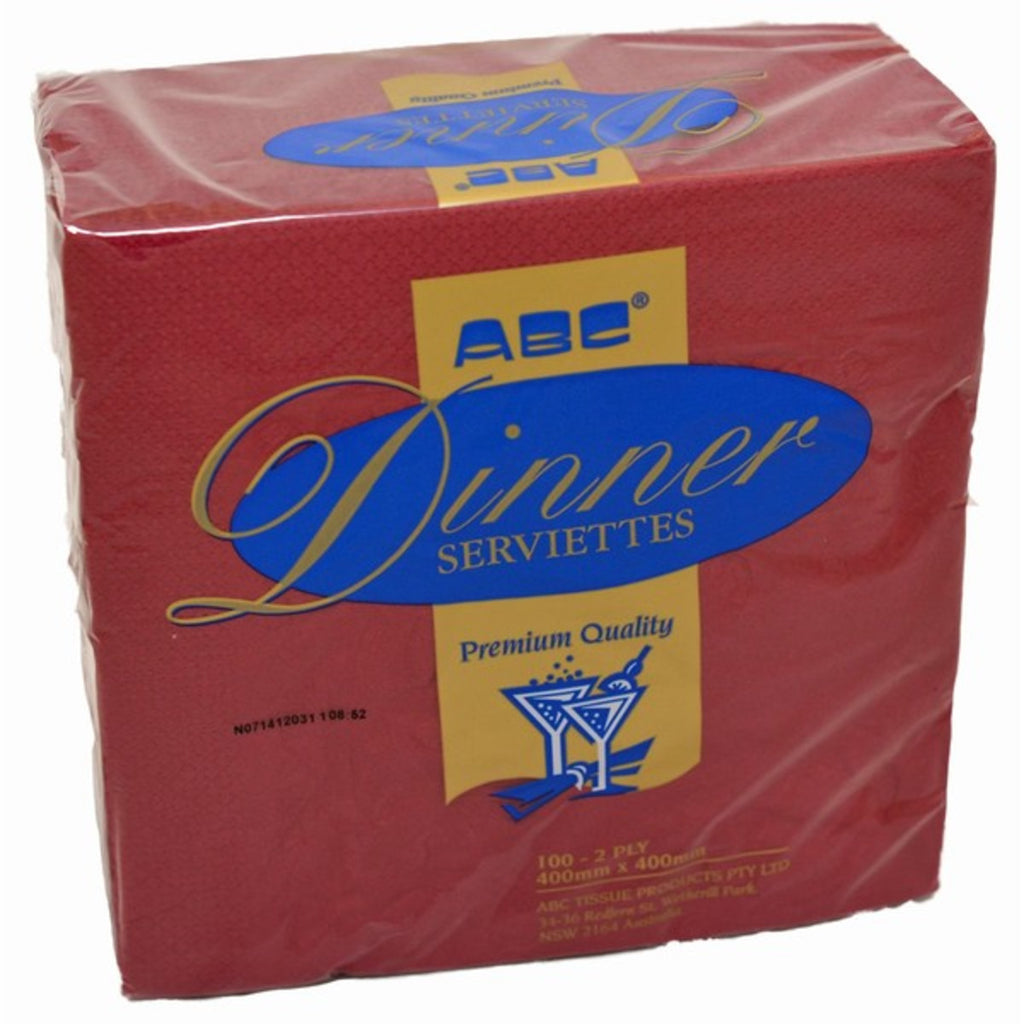 1 Ply Lunch ABC Napkin Red (Dark) (Carton 2000) (Pack 500)
