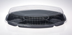 "Platter Plastic 20"" Oval 50Cm Clear Dome Lid Each"