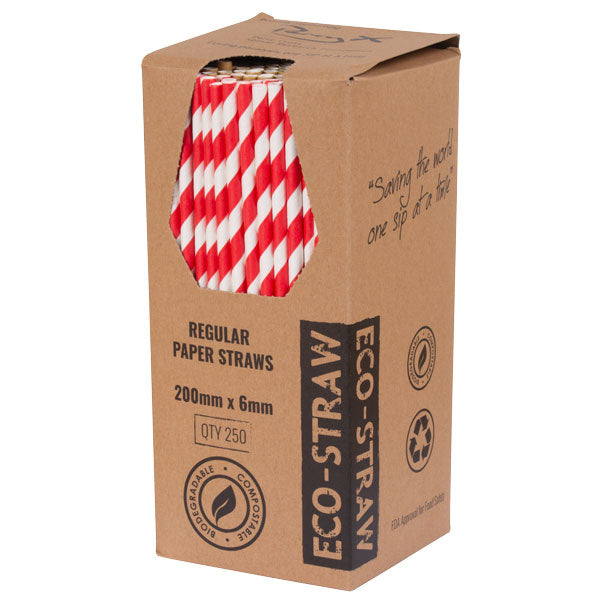 Straws Paper Standard bygreen Stripe Red (Carton 2500) (Pack 250)
