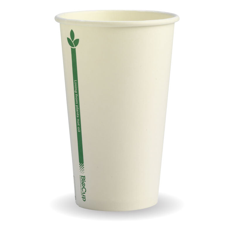 Bio Cup 12oz(80mm)/375ml Single Wall Green Line White (Carton 1000) (Sleeve 50)