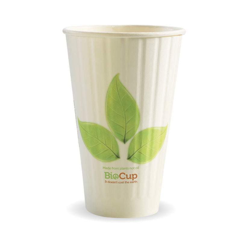 Bio Cup 16oz/473ml Double Wall Leaf (Carton 600)