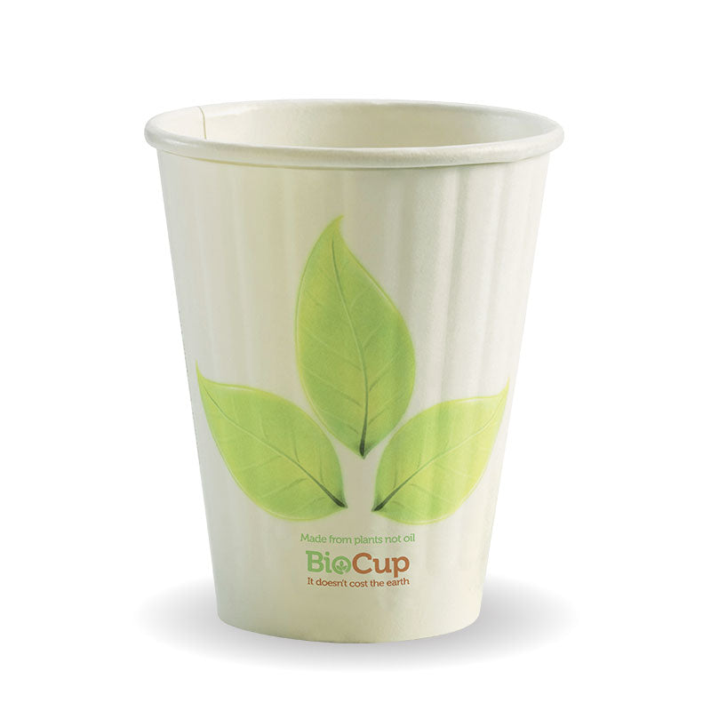 Bio Cup 8oz/236ml Double Wall 90mm Squat Leaf (Carton 1000)