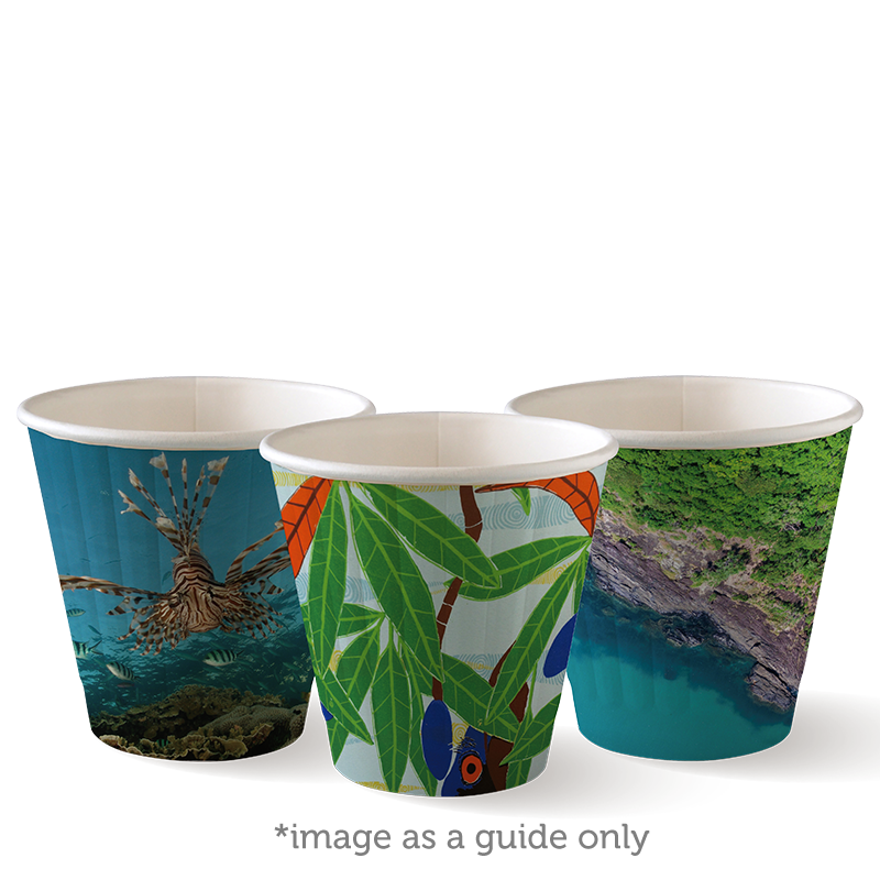 Bio Cup 8oz/236ml Double Wall 90mm Squat Art Series (Carton 1000)