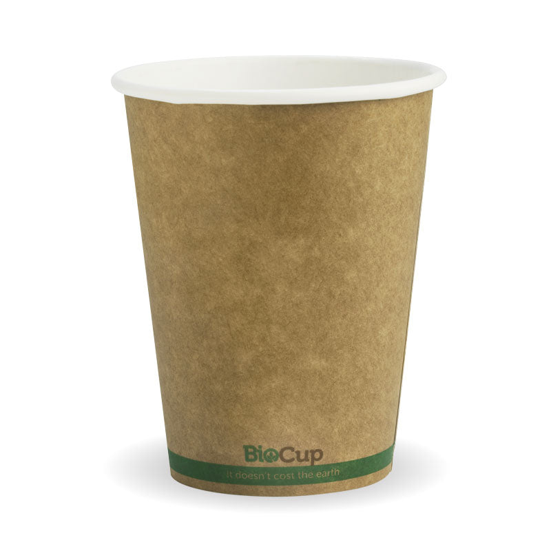 Bio Cup 12oz/354ml Single Wall Brown Kraft (Carton 1000) (Sleeve 50)