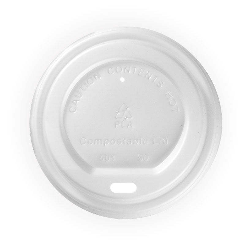 Bio Cup Lid 80mm 6/8/12oz Compostible Lid (Carton 1000) (Sleeve 50)