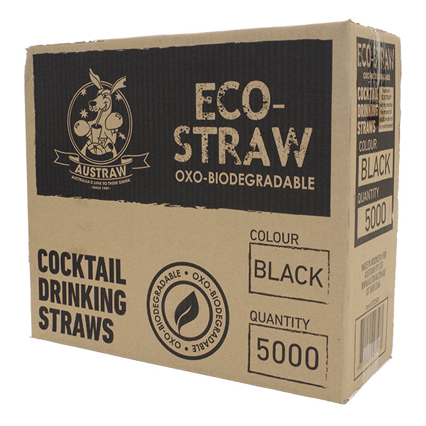 Straws Bio Oxo Cocktail Black (Carton 5000)