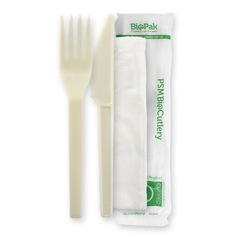 Bio Cutlery Kit Knife/Fork/Napkin (Carton 250)