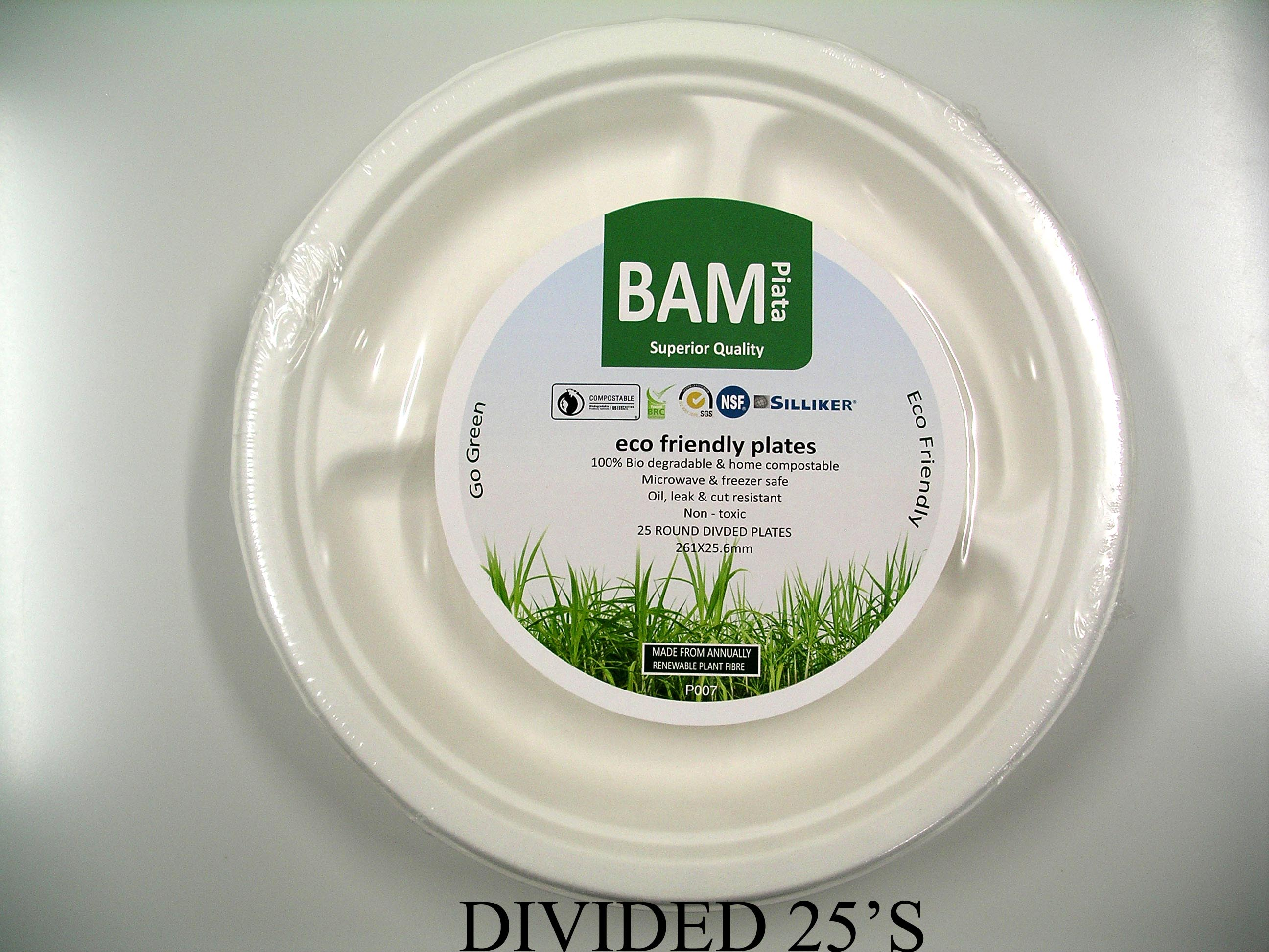 Bamboo Paper Divided Plate White (Pack 25)