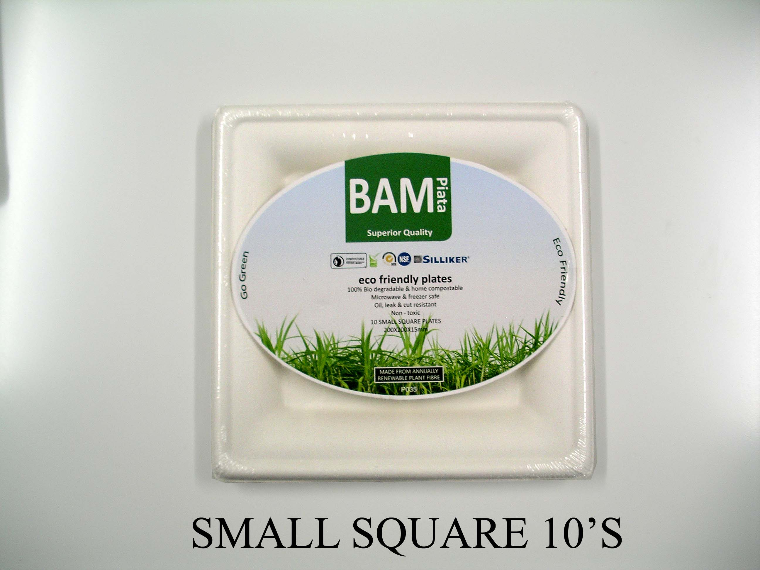 Bamboo Square Paper Small Plate White (Carton 120) (Pack 10)