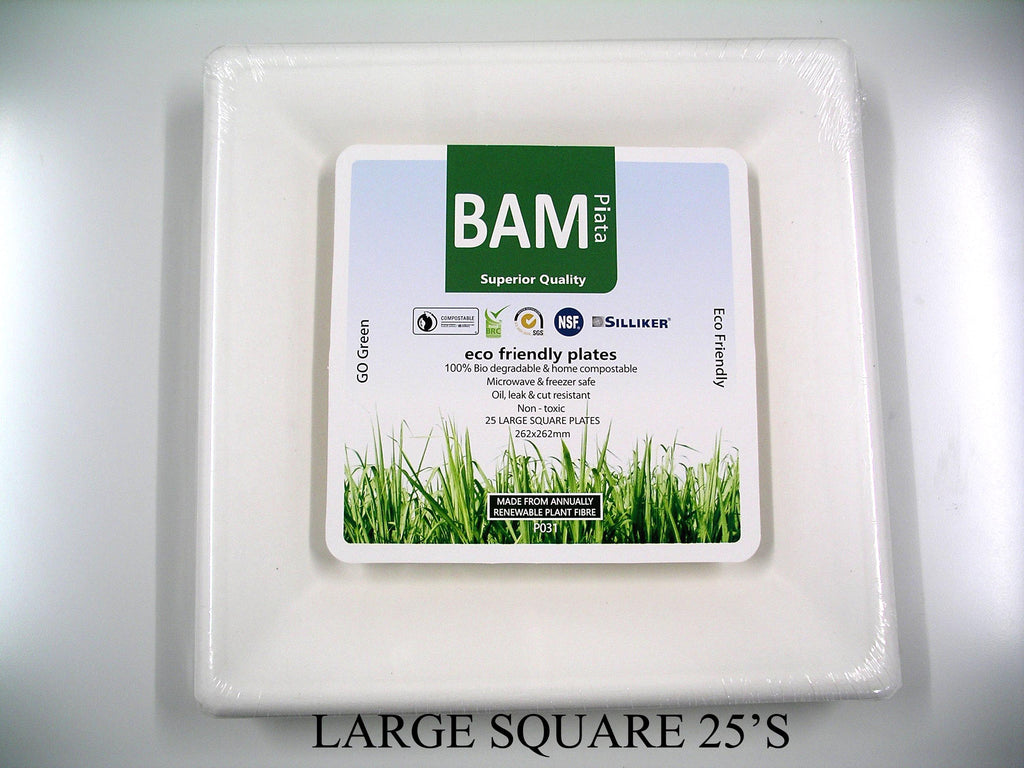 Bamboo Square Paper Large Plate White (Pack 25)