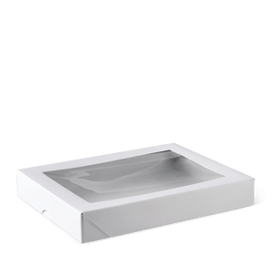Patisserie White Window Box Flat Long 200mm x 150mm x 30 (Carton 200) (Each)