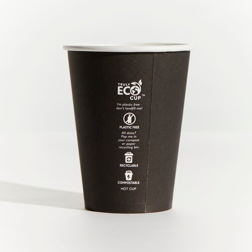 12oz Truly Eco Paper Single Wall Black Cup Pinnacle (Carton 1000) (Sleeve 50)