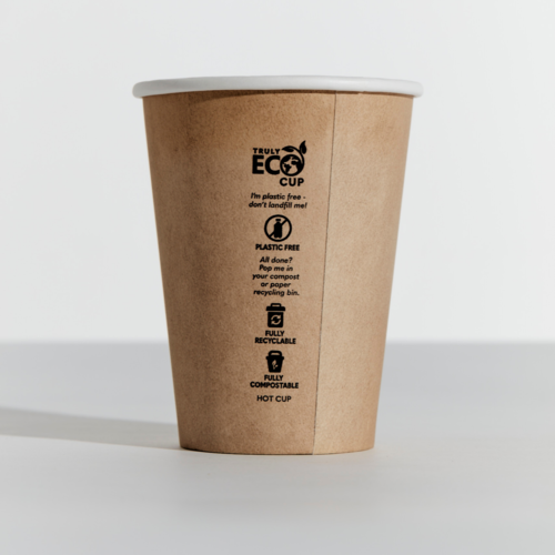 12oz Truly Eco Paper Single Wall Kraft Cup Pinnacle (Carton 1000) (Sleeve 50)