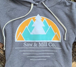 Unisex Mountain Scape Hoodie, Grey - Slim Fit