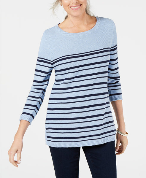 Karen Scott Womens Striped Cotton Lace-Up Sweater Via Macy's SALE $11.66 (Reg $46.50)