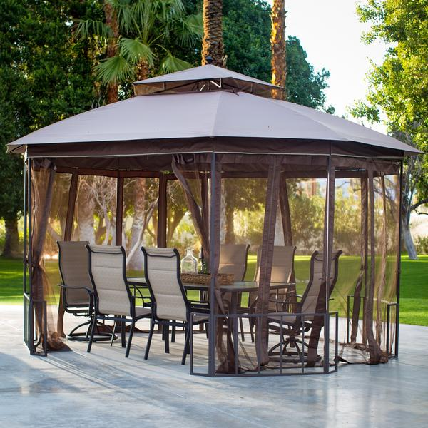 Belham Living Octagon 10 x 12 ft. Gazebo with Curtains Via Walmart