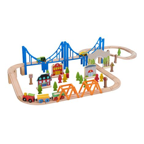 75 Piece Wooden Train Play Set Via Walmart