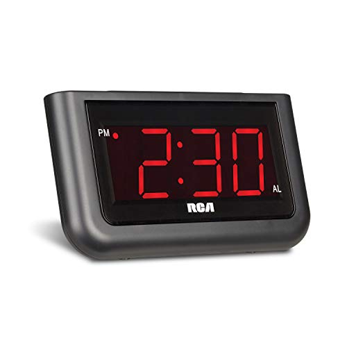 "RCA Digital Alarm Clock - Large 1.4"" LED Display with Brightness Control and Repeating Snooze Via Amazon"