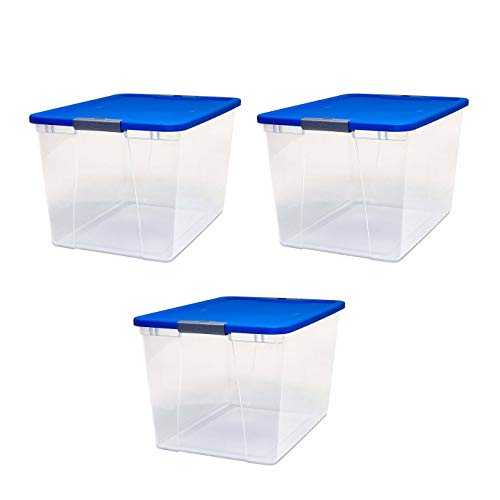 Homz Plastic Storage, With Latching Blue Lids, 64 Quart, Clear, Stackable, 3-Pack Via Amazon