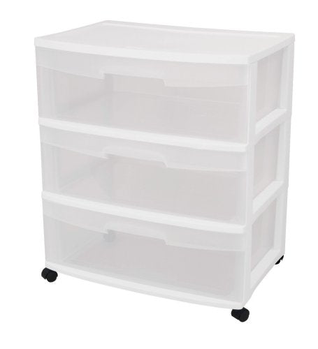 Sterilite 29308001 Wide 3 Drawer Cart, White Frame with Clear Drawers Via Amazon