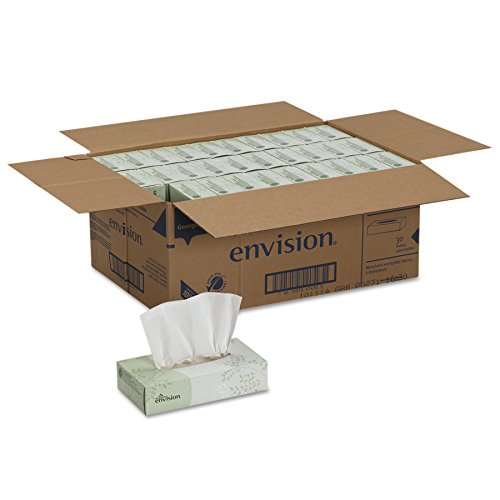 30 Boxes Georgia Pacific Envision 2-Ply Facial Tissue, 100 Sheets Per Box Via Amazon