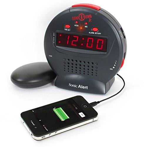 Sonic Bomb Jr. Alarm Clock with Bed Shaker Vibrator Via Amazon