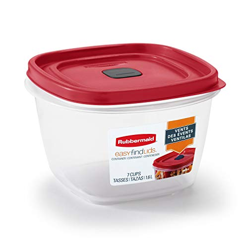 Rubbermaid 2030330 Easy Find Vented Lid Food Storage Containers, 7-Cup