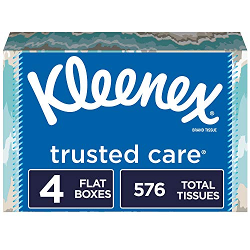 Kleenex Trusted Care Everyday Facial Tissues, Flat Box, 4 Count Via Amazon