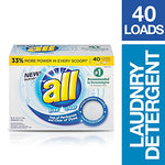 all Powder Laundry Detergent, Free Clear for Sensitive Skin, 40 Loads Via Amazon