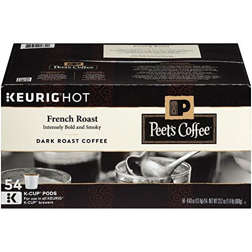 K-Cup Pack Peet's Coffee French Roast K-Cup Pack 54 count Via Amazon