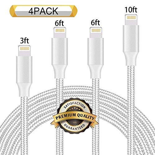 iPhone Charger 4 Pack 3/6/6/10FT Via Amazon